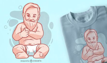 Bearded baby t-shirt design