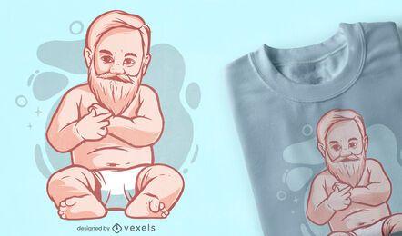 Diseño de camiseta de bebé barbudo