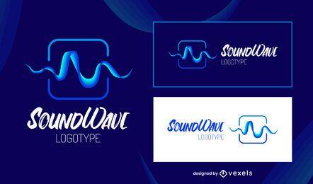 Modelo de logotipo de música de onda sonora azul