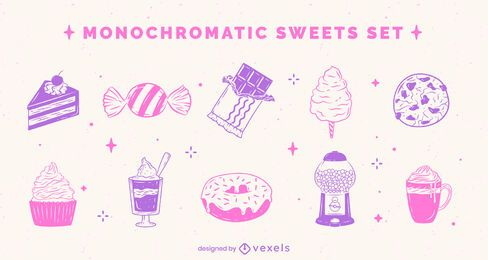 Conjunto monocromático fofo de comida doce