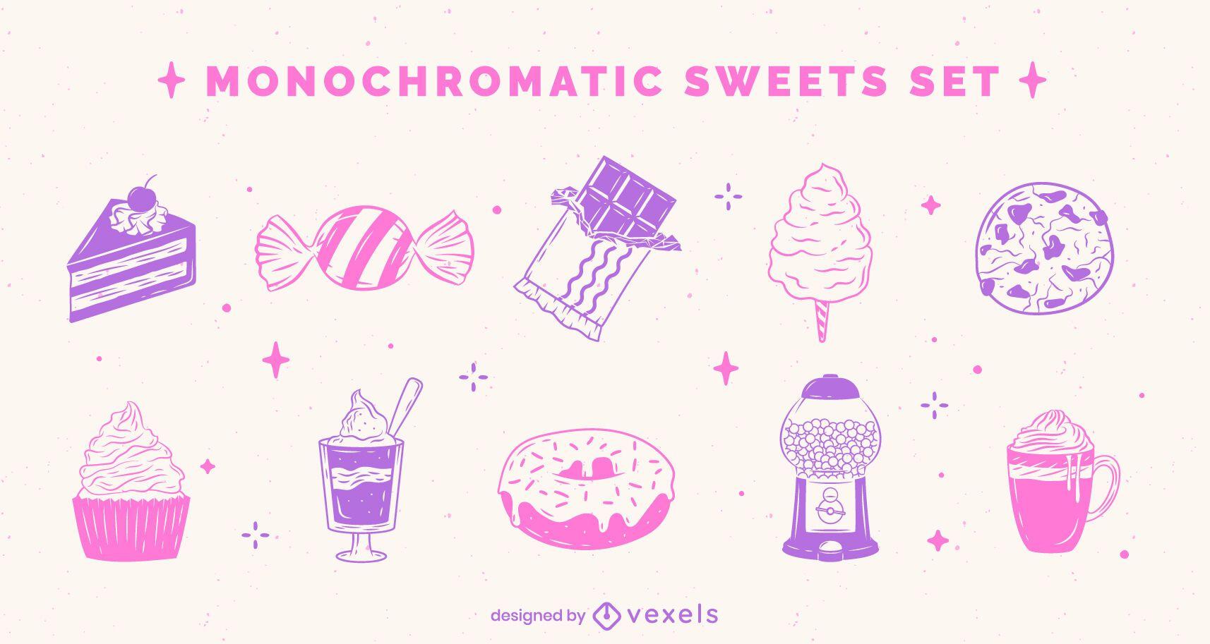 Conjunto monocromático lindo de alimentos dulces