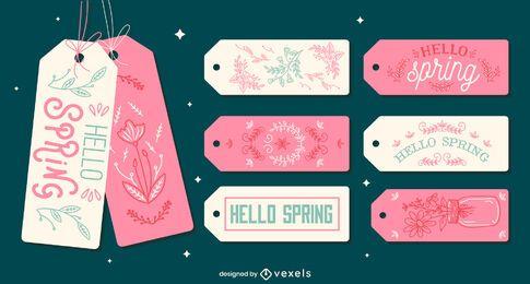 Spring season cute lettering tag set