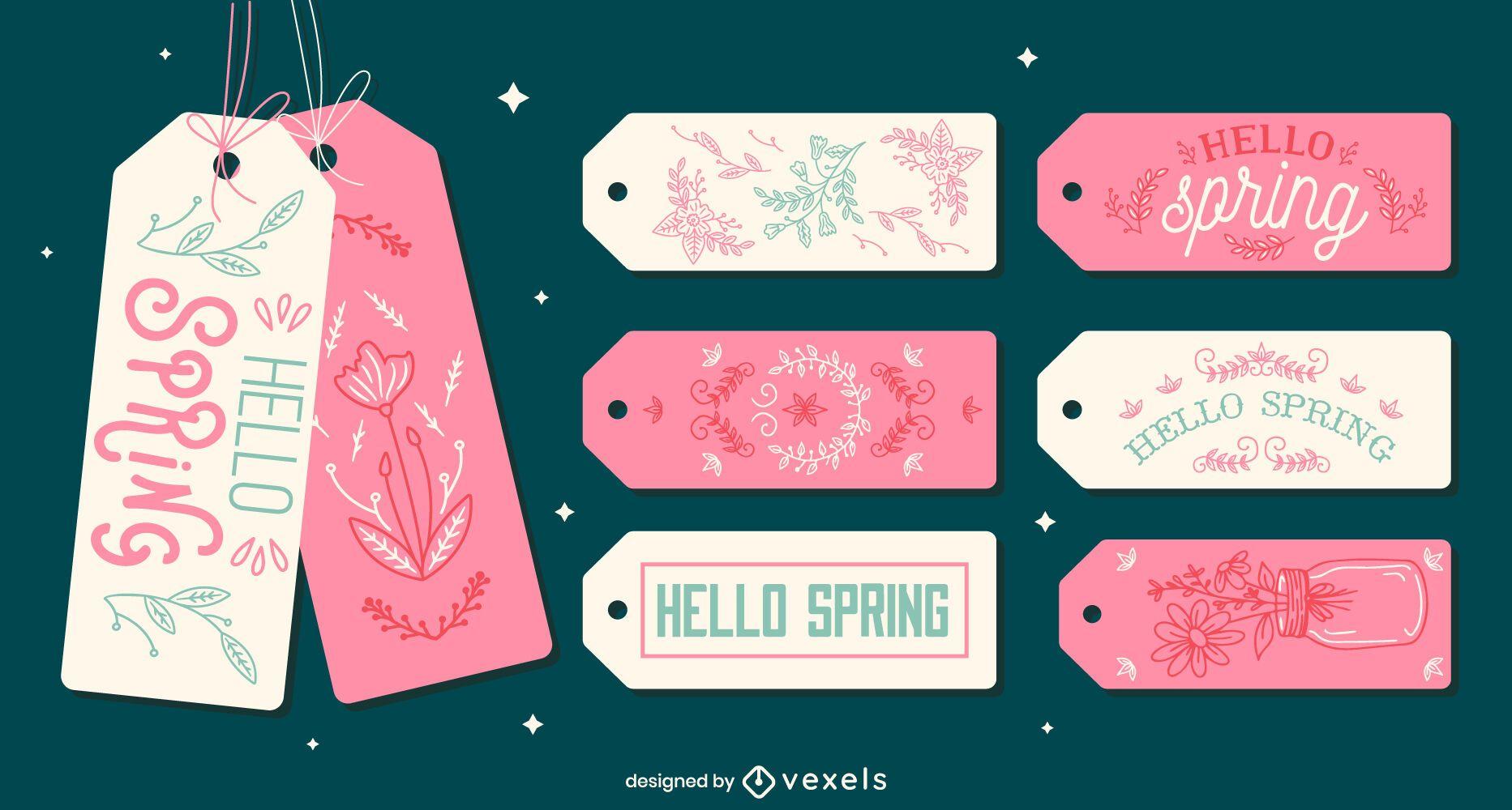 Conjunto de etiquetas de letras lindas de temporada de primavera