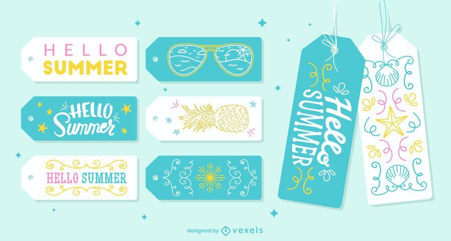 Summer season cute lettering tag set