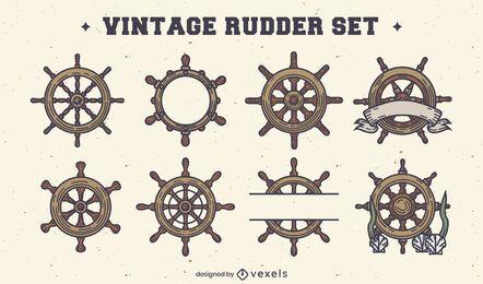 Conjunto de elementos vintage de rueda de timones de barco