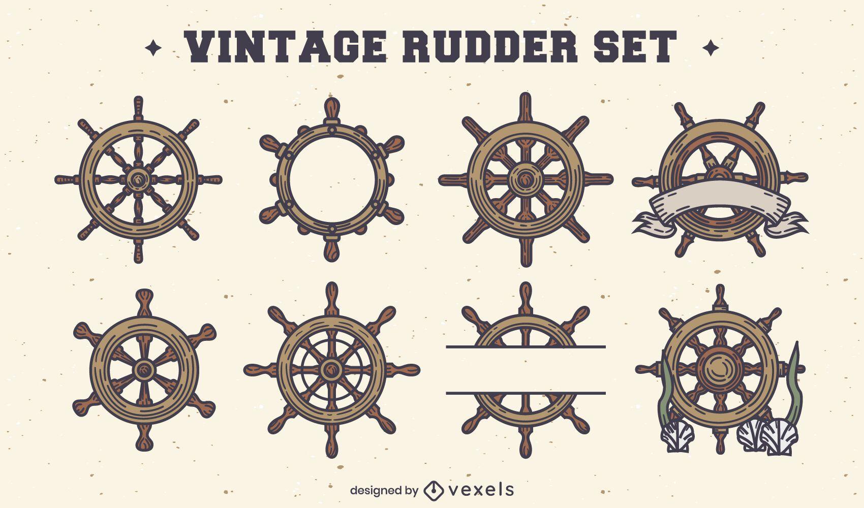 Conjunto de elementos vintage de leme de navio