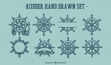 Ship helms wheel line art element set