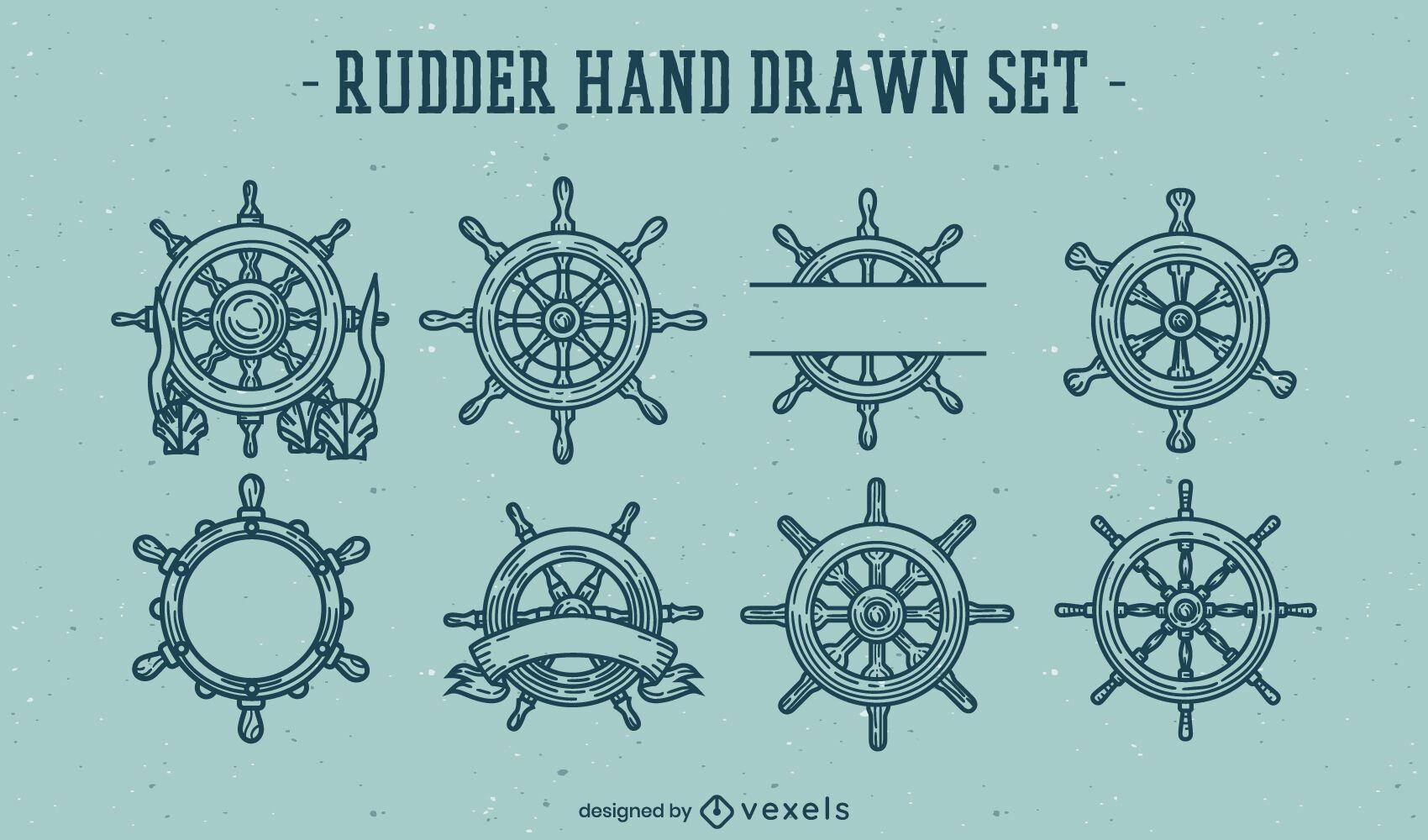 Conjunto de elementos de arte de línea de rueda de timones de barco