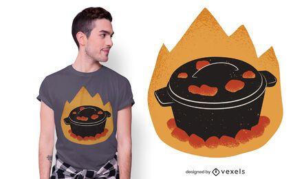 Diseño de camiseta de olla de cocina de horno holandés.