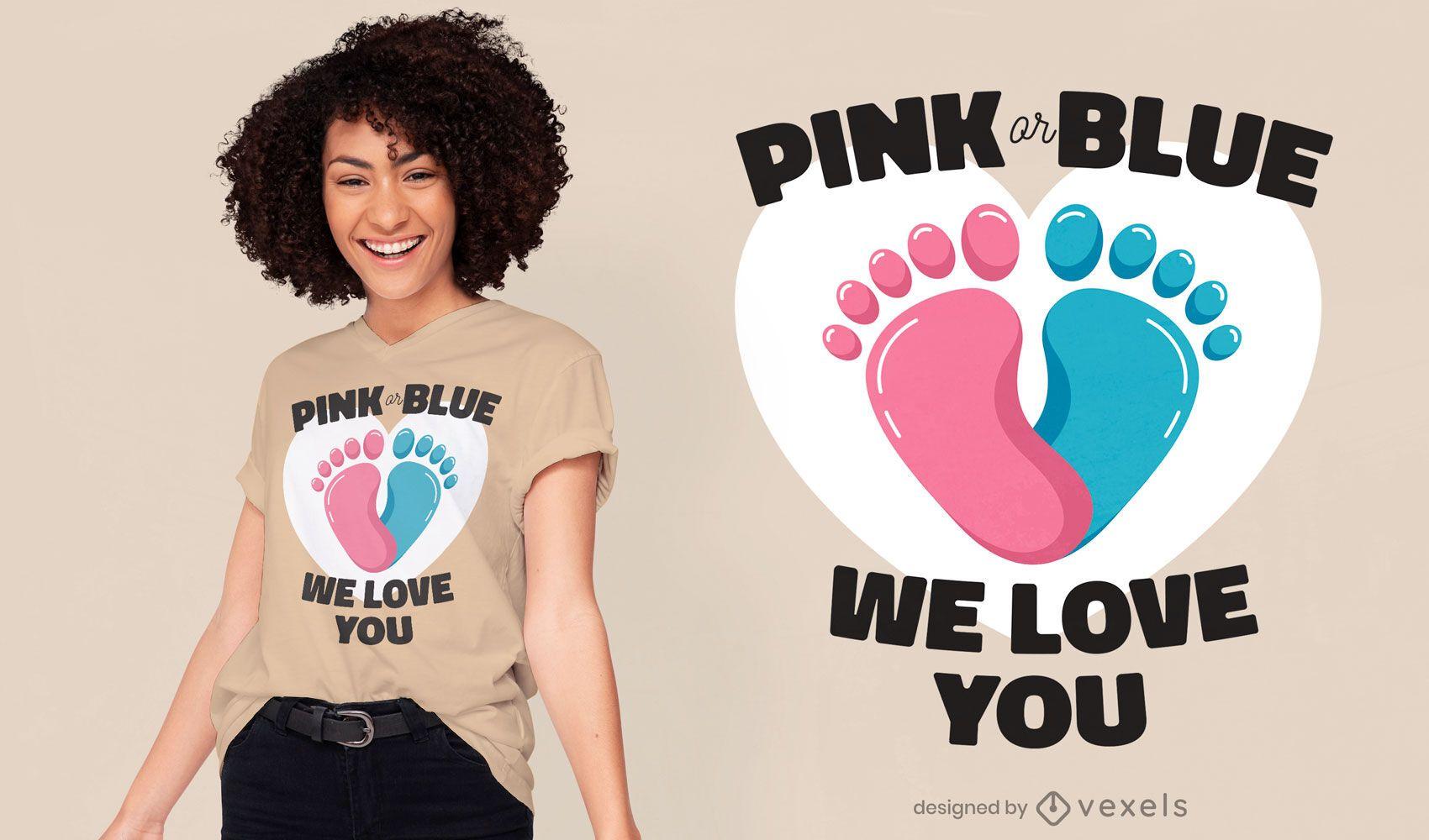 Design de t-shirt com citação de gênero para gravidez