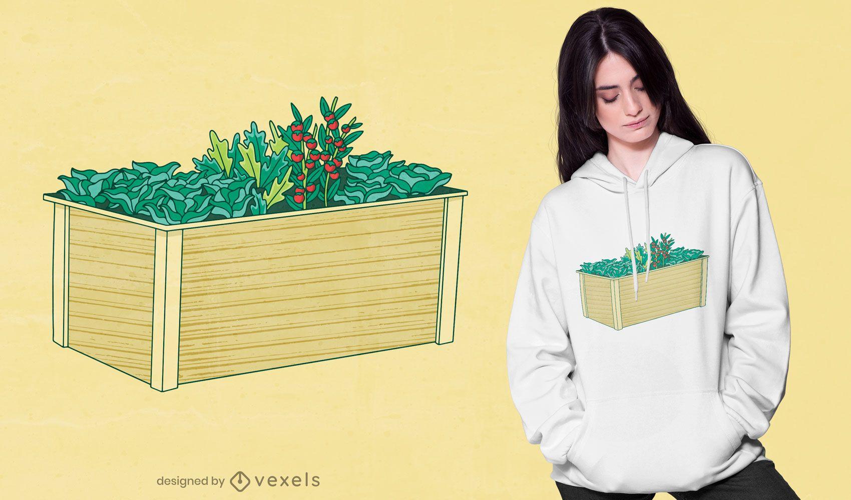 Design de t-shirt com caixa de jardinagem com cama elevada