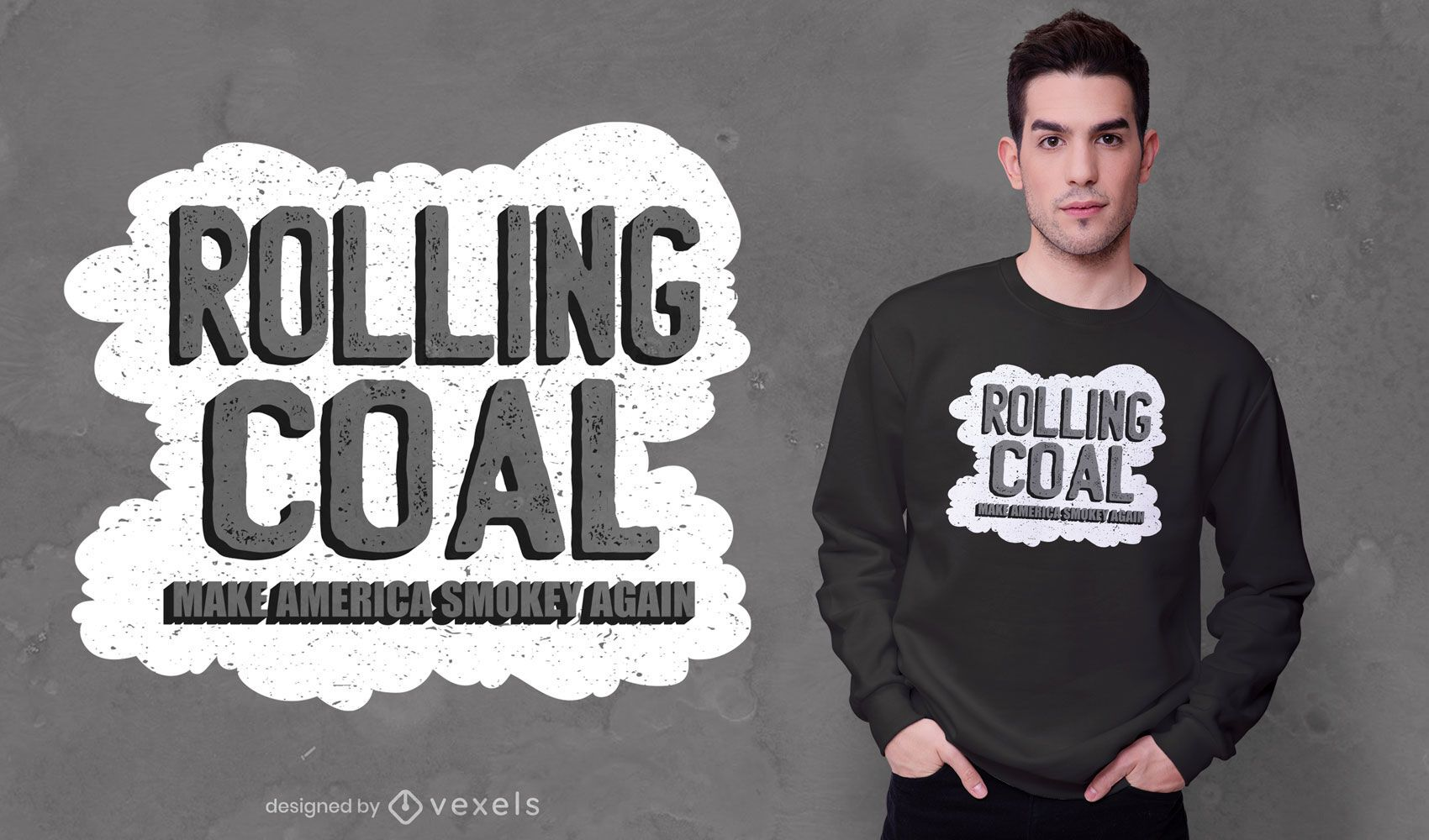 Diseño de camiseta con cita de rolling coal america