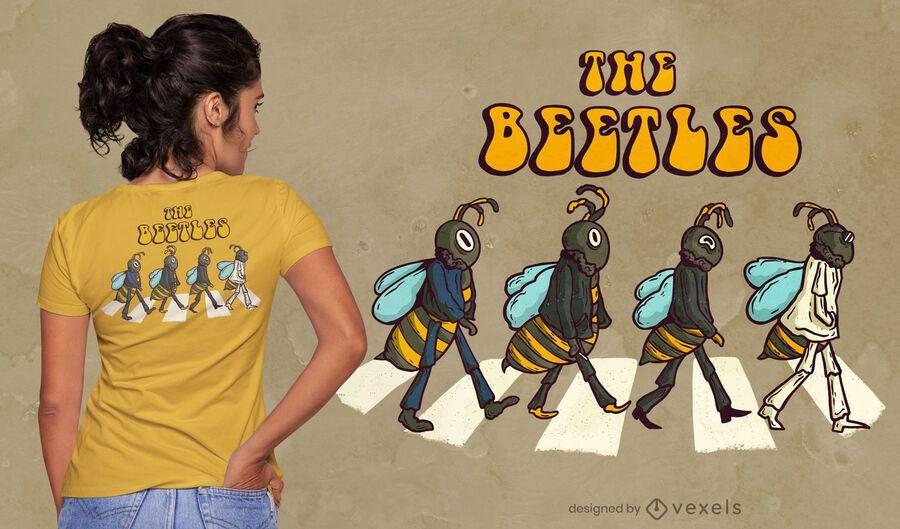 Diseño de camiseta de parodia de los escarabajos.