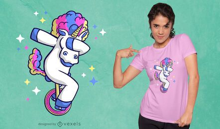 Unicorn unicycle cartoon t-shirt design