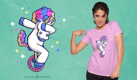Unicorn unicycle cartoon t-shirt design