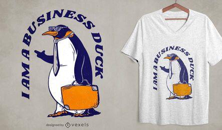Design de t-shirt de pato de negócios de pinguim