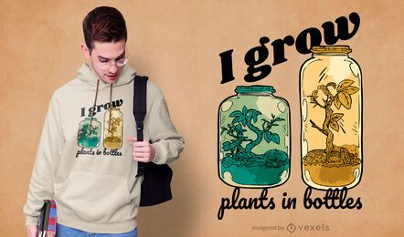 Diseño de camiseta de frascos de plantas de botella de jardín.