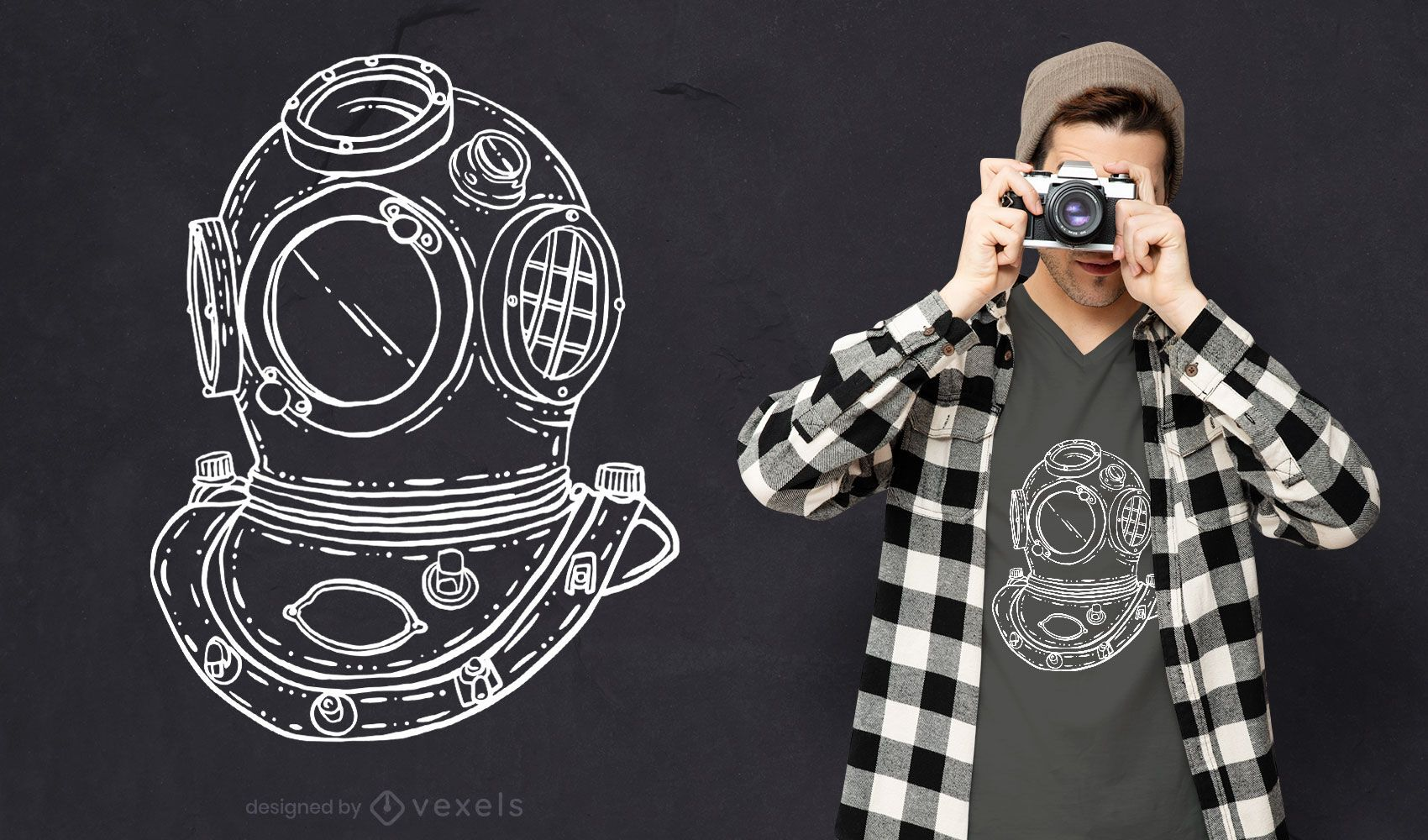 Diseño de camiseta dibujada a mano de casco de buceo.