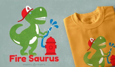 Design de camiseta de desenho animado de bombeiro dinossauro