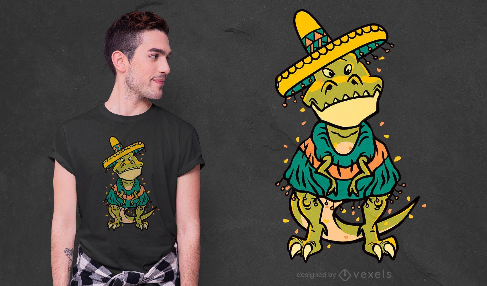Diseño de camiseta cinco de mayo t-rex