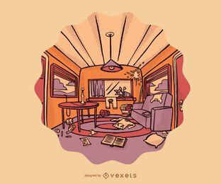 Ilustração de desenho animado de uma sala bagunçada
