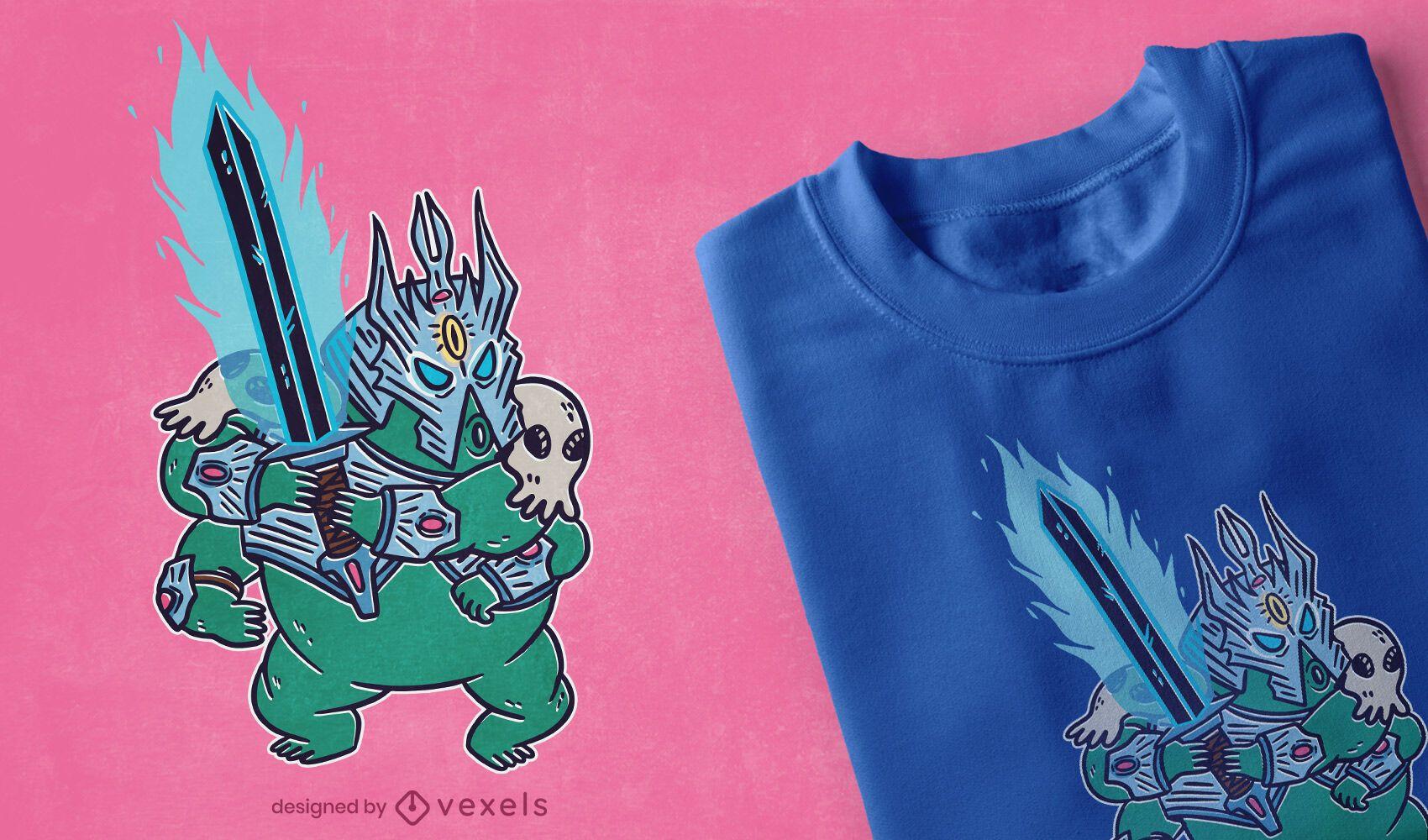 Design de camiseta de RPG do guerreiro Tardígrade
