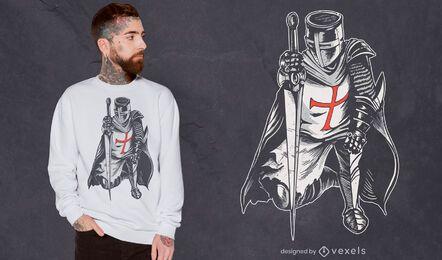 Diseño de camiseta de guerrero caballero con armadura.