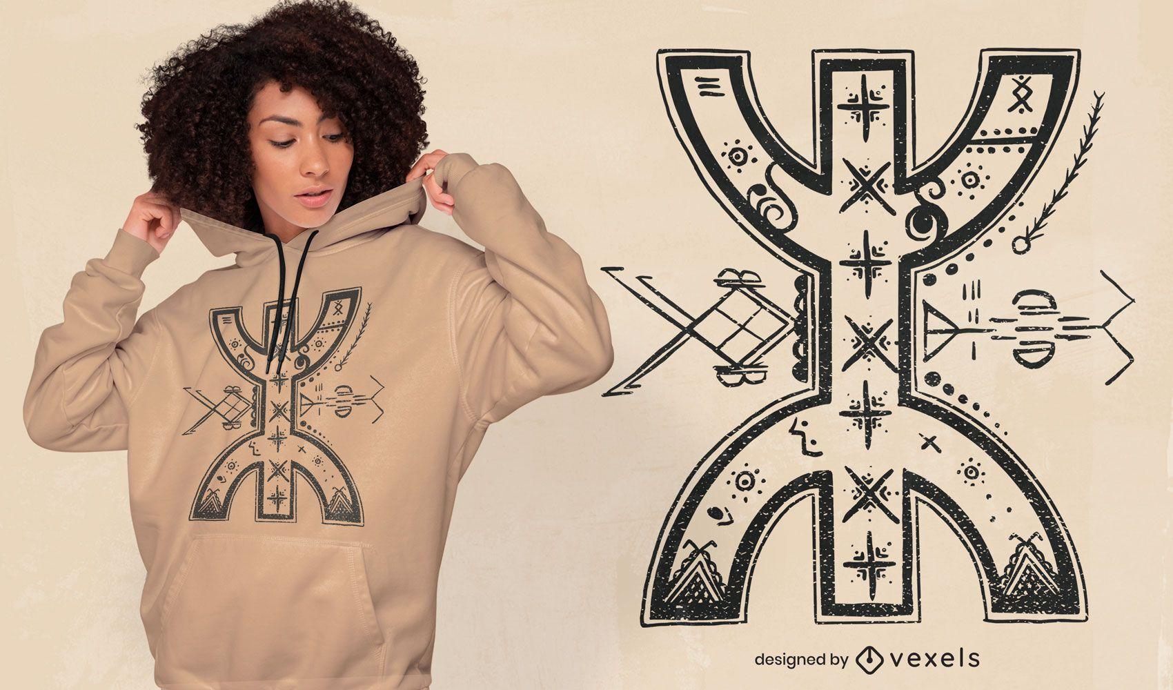 Diseño de camiseta abstracta de símbolo bereber