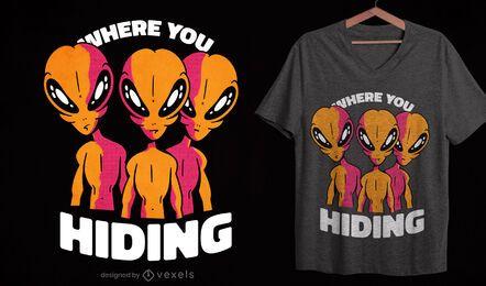 Diseño de camiseta de alienígenas espeluznantes