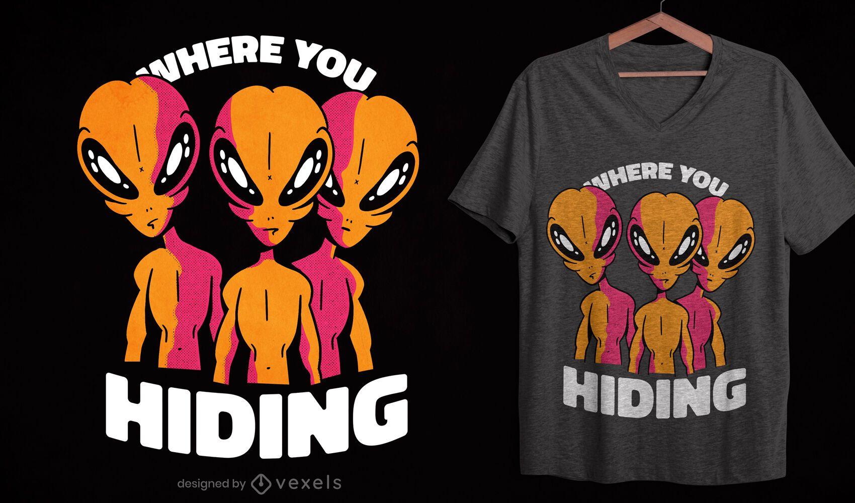 Creepy aliens t-shirt design