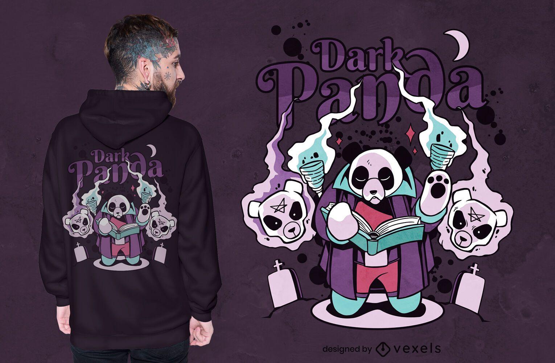 Design de t-shirt de fantasia de magia negra do Panda