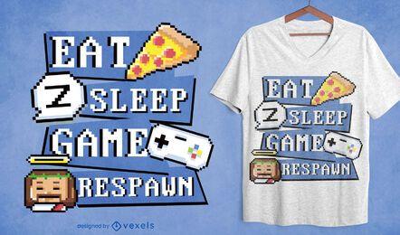 Diseño de camiseta de pixel art de rutina de jugador