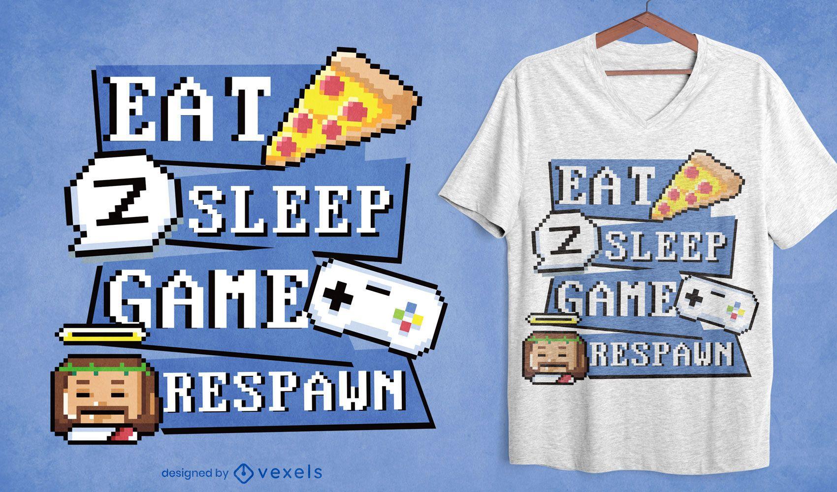 Gamer routine pixel art t-shirt design