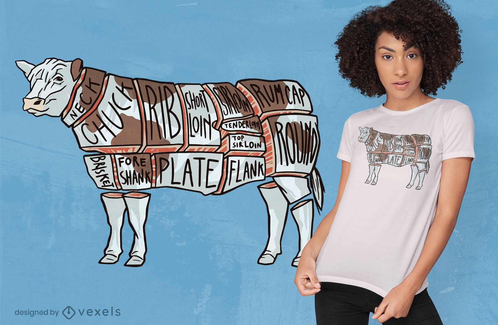 Diseño de camiseta de división de corte de carne de vaca.