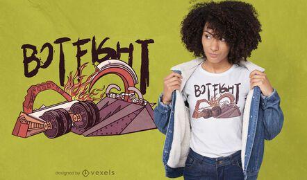 Diseño de camiseta mecánica de lucha de robots.