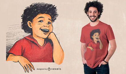 Criança feliz com desenho de t-shirt