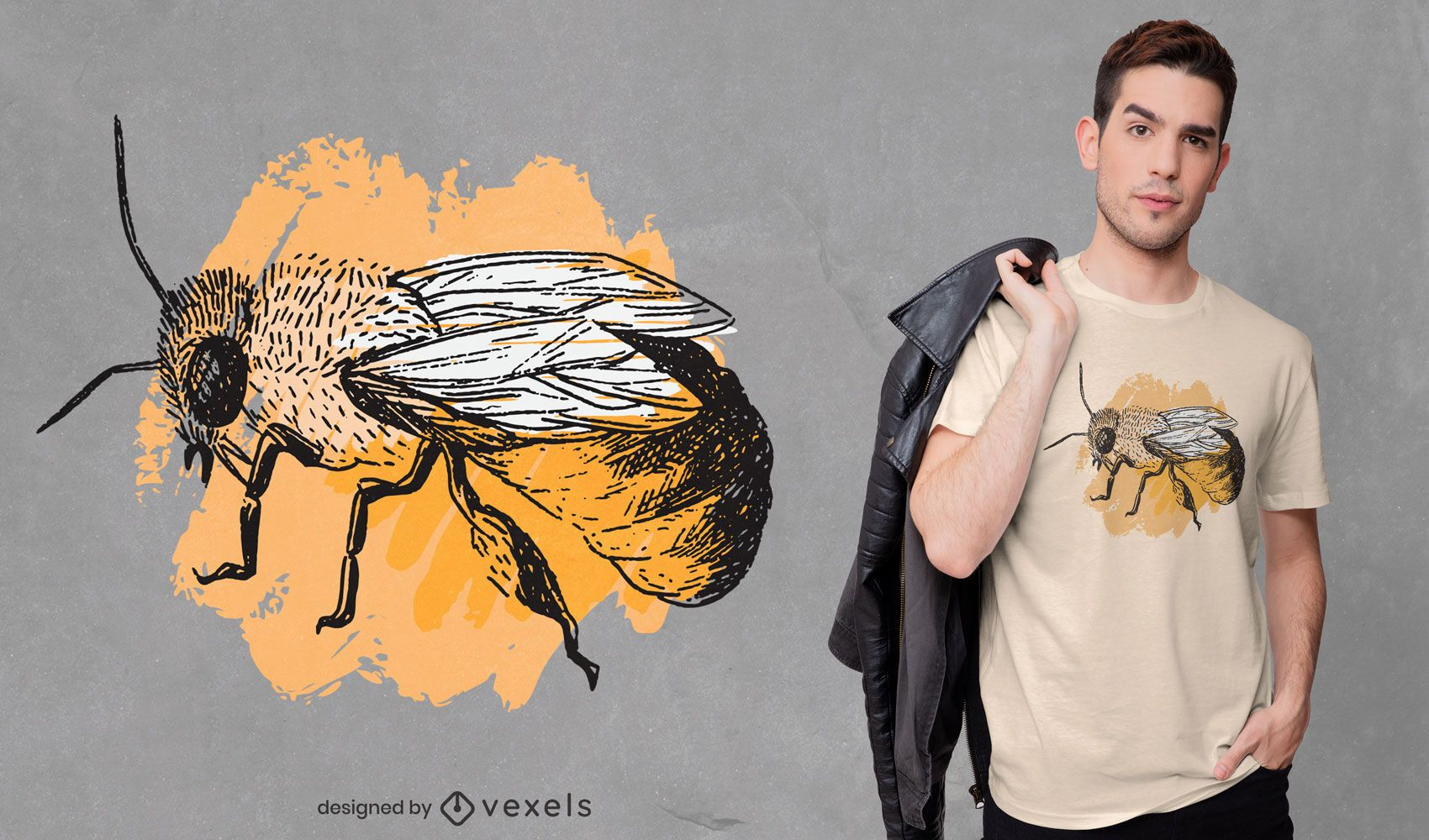 Distressed bee t-shirt design