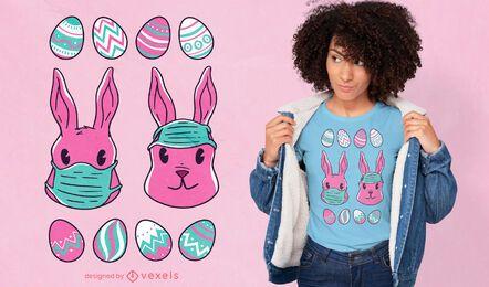 Diseño de camiseta de conejitos de mascarilla.