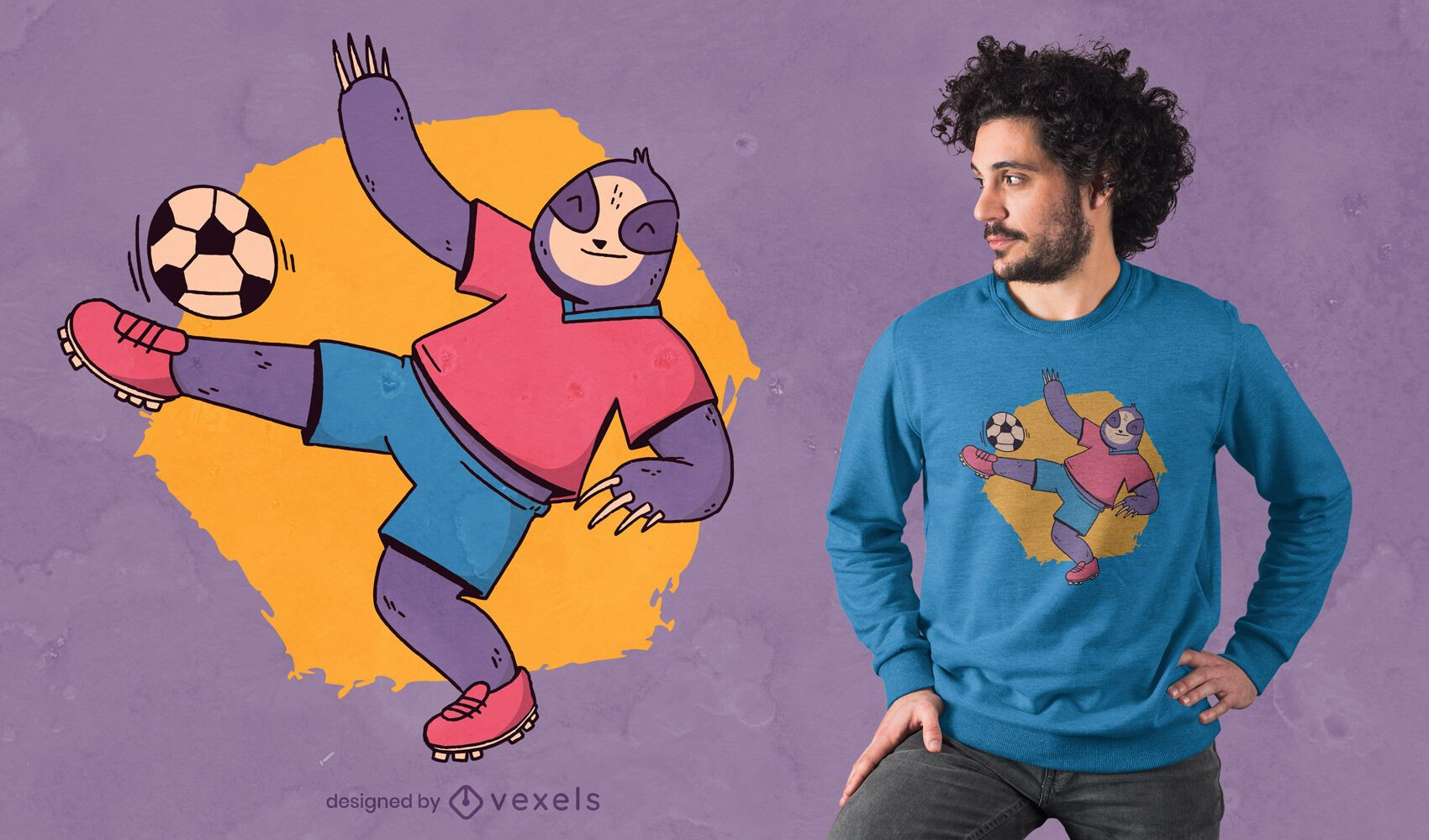 Diseño de camiseta de perezoso jugando al fútbol.