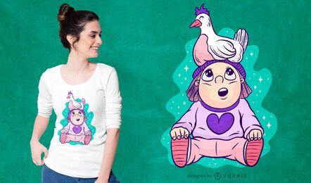 Chica con diseño de camiseta de pollo