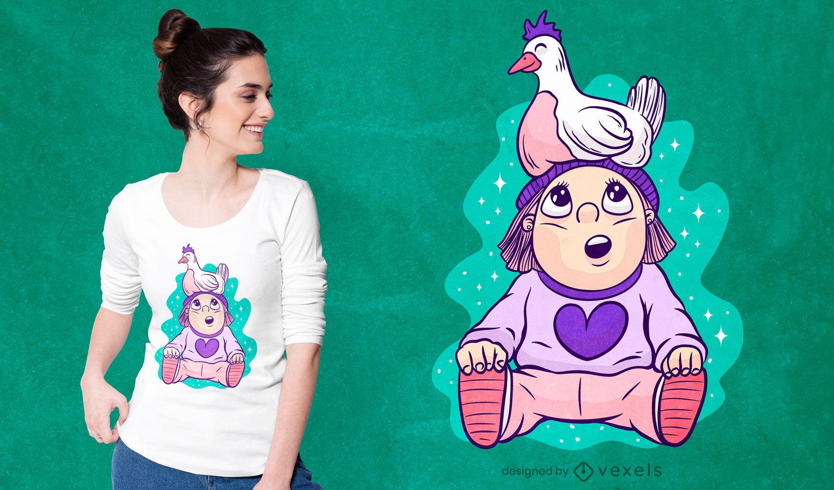 Girl with chicken t-shirt design