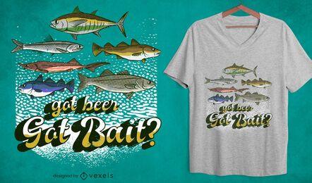 Diseño de camiseta con cita de pesca con cebo conseguido