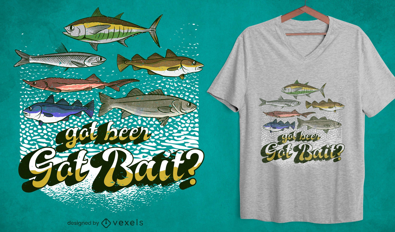Bekam Köderfischen Zitat T-Shirt Design