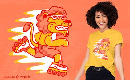 Rollerskating lion t-shirt design