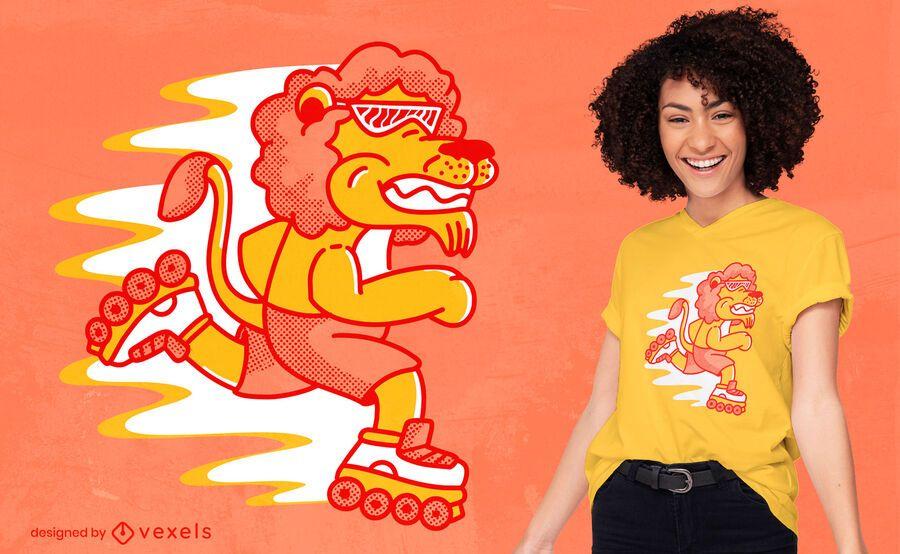 Rollerskating lion t-shirt design
