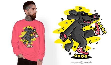 Diseño de camiseta de perro patinaje sobre ruedas.