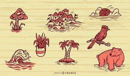 Conjunto de elementos da natureza desenhados à mão