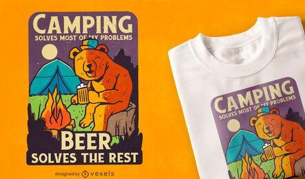Design de camisetas para camping e cerveja