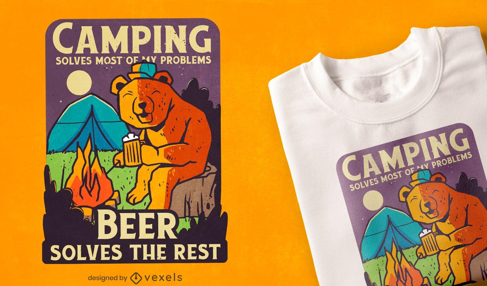 Diseño de camiseta de camping y cerveza.