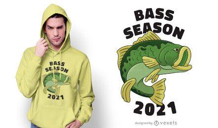Design de camiseta para pesca na temporada do baixo